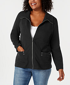 Karen Scott Plus Size Zip-Front Casual Knit Jacket, Created for Macy's