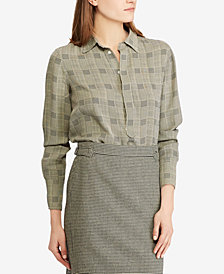 Polo Ralph Lauren Plaid Georgette Blouse