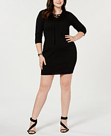 Say What? Trendy Plus Size Lace-Up Detail Dress