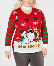 "Planet Gold Trendy Plus Size ""Yo Yo Yo"" Christmas Sweater"