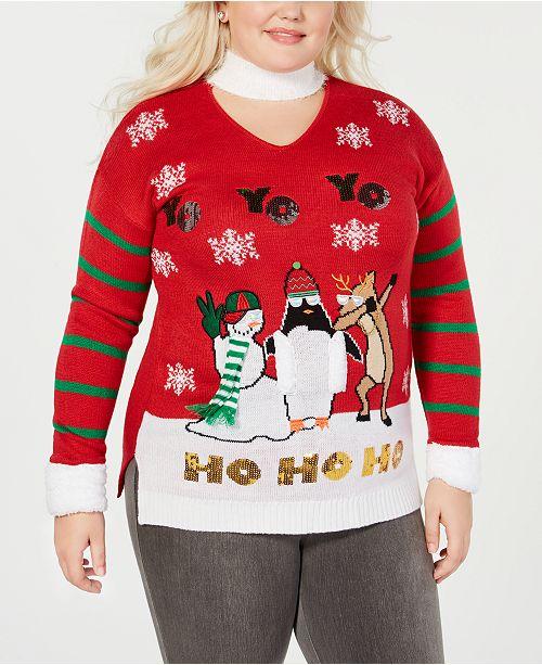 Planet Gold Trendy Plus Size Yo Yo Yo Christmas Sweater Sweaters