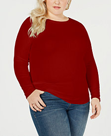 Planet Gold Trendy Plus Size Lace-Up Back Top