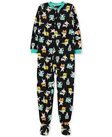 Carter's Little & Big Girls Monster-Print Fleece Footed Pajamas