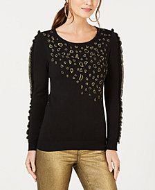 Thalia Sodi Metallic Print Ruffle-Trim Sweater, Created for Macy's