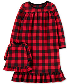 Carter's Toddler Girls 2-Pk. Buffalo-Check Nightgown & Doll Nightgown Set