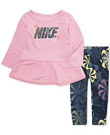 Nike Baby Girls 2-Pc. Peplum Top & Leggings Set