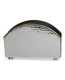 Classic Touch Stainless Steel Hammered Napkin Holder with Gold Rim