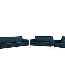 Loft 3 Piece Upholstered Fabric Sofa Lovet And Armchair Set