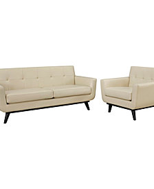 Engage 2 Piece Leather Living Room Set in Tan