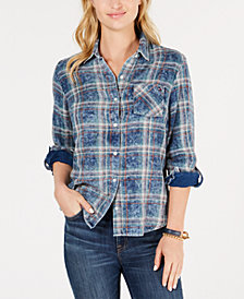 Tommy Hilfiger Cotton Double-Faced Plaid Shirt, Created for Macy's