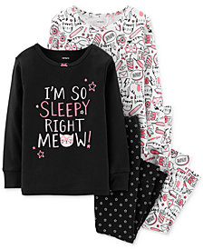 Carter's Toddler Girls 4-Pc. Kitty & Floral-Print Cotton Pajamas Set
