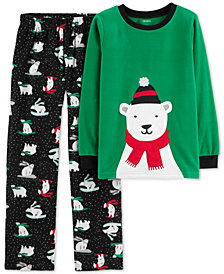 Carter's Little & Big Boys 2-Pc. Sledding Bear Pajamas