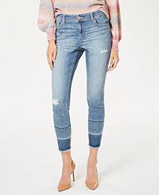 I.N.C. Indigo-Wash Release-Hem Skinny Jeans, Created for Macy's
