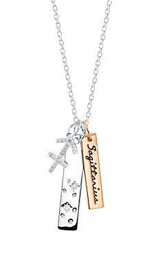 Unwritten CZ Constellation Sagittarius Zodiac Pendant Necklace with Two-Tone Silver Plated Charms on Sterling Silver Chain, 18""