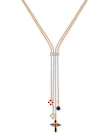 "GUESS Gold-Tone Crystal Multi-Charm Lariat Necklace, 24"" + 2"" extender"