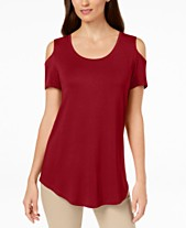 0eb581eee95 JM Collection Cold-Shoulder Swing T-Shirt, Created for Macy's