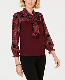John Paul Richard Petite Bow-Front Knit Top