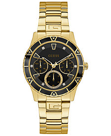 GUESS Men's Gold-Tone Stainless Steel Bracelet Watch 38mm