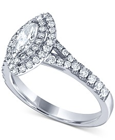 Diamond Marquise Halo Engagement Ring (1 ct. t.w.) in 14k White Gold