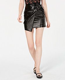 J.O.A. Wrap-Front Patent Mini Skirt