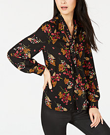 Bar III Floral-Print Tie-Neck Top, Created for Macy's