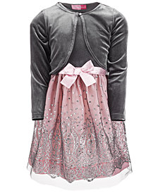 Good Lad Little Girls 2-Pc. Velvet Shrug & Dress Set