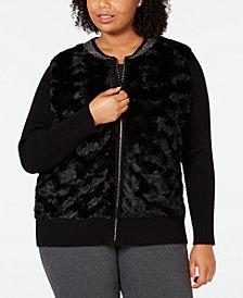 Belldini Black Label Plus Size Faux-Fur Zip-Front Cardigan