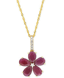 "Ruby (2-1/2 ct. t.w.) & Diamond Accent 18"" Pendant Necklace in 14k Gold"