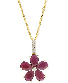 """Ruby (2-1/2 ct. t.w.) & Diamond Accent 18"""" Pendant Necklace in 14k Gold"""