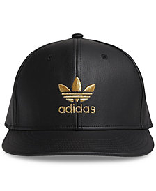adidas Men's Originals Faux-Leather Metallic-Logo Hat