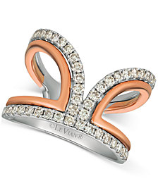 Le Vian® Nude Diamonds™ Two-Tone Statement Ring (3/4 ct. t.w.) in 14k White & Rose Gold