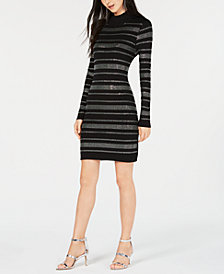 Bar III Rhinestone-Stripe Sweater Dress, Created for Macy's