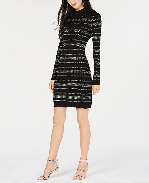 c4b2c59bd05 ... Bar III Rhinestone-Stripe Sweater Dress