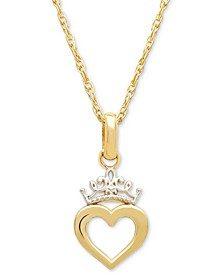 "Children's Two-Tone Heart & Tiara 15"" Pendant Necklace in 14k Gold"