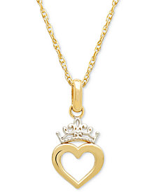 "Disney© Children's Two-Tone Heart & Tiara 15"" Pendant Necklace in 14k Gold"