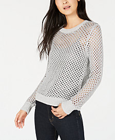Bar III Open-Stitch Metallic Sweater, Created for Macy's