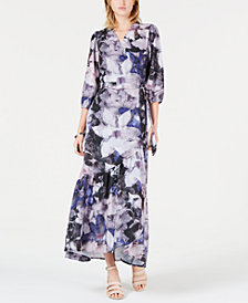 Bar III Artistic Roses Maxi Wrap Dress, Created for Macy's