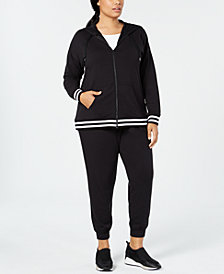 Ideology Varsity-Stripe Zip Hoodie & Joggers, Created for Macy's