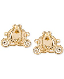 Children's Cinderella Pumpkin Coach Stud Earrings in 14k Gold