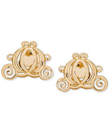 Disney© Children's Cinderella Pumpkin Coach Stud Earrings in 14k Gold