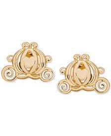 Disney© Children's Cinderella Pumpkin Coach Stud Earrings in 14k Gold