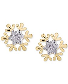 Children's Frozen Snowflake Stud Earrings in 14k Gold