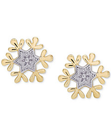 Disney© Children's Frozen Snowflake Stud Earrings in 14k Gold