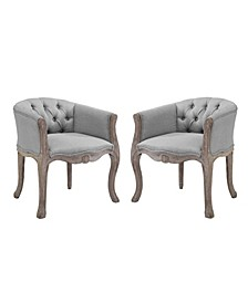 Crown Vintage French Upholstered Fabric Dining Armchair Set of 2