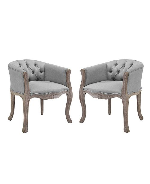 Modway Crown Vintage French Upholstered Fabric Dining Armchair Set