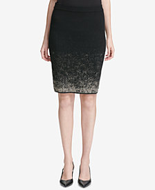 Calvin Klein Metallic-Ombré Sweater Skirt