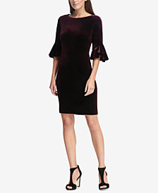 DKNY Velvet Bell-Sleeve A-Line Dress, Created for Macy's