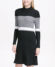 Calvin Klein Colorblocked Ribbed Sweater Dress