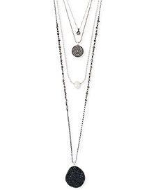 "Lucky Brand Two-Tone Crystal, Druzy Stone & Imitation Pearl Multi-Layer Necklace, 17-1/2' + 2"" extender"