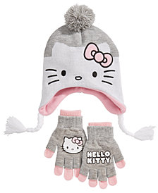 Hello Kitty Big Girls 2-Pc. Hat & Adjustable Gloves Set